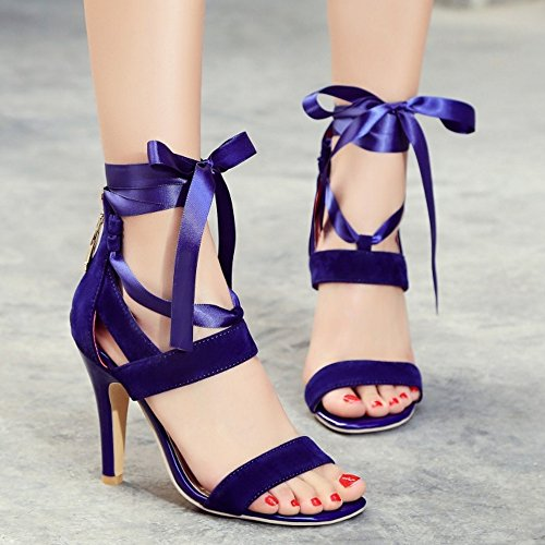 RizaBina Femmes Mode Aiguille Talons Hauts Bout Ouvert Fermeture Eclair Sandales Con Cordones Bleu