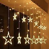138 LED Vorhang Lichterkette,KINGCOO 2m 12 Sterne Batteriebetriebene Fenster Vorhang Fee Lichterketten Dekoleuchte für Festival Weihnachten/Hochzeit/Party/Garten Dekorationen (Warmweiß)