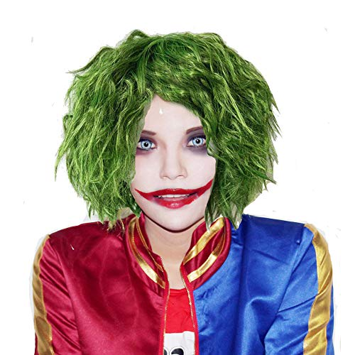 Lockiges Halloween Kostüm Haar - Halloween Kostüm Joker Perücke Film Cosplay Wig Kurz Gras Grün Fluffy Lockig Haar Zubehör