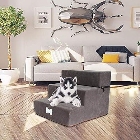 delibett Hundetreppe Katzentreppe Haustiertreppe mit 3 Stufen, 30 x 35 x 30 cm, Einstiegshilfe für kleinere Hunde Katze