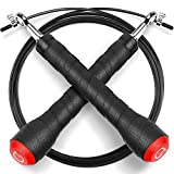 Skipping Rope,Gritin High-grade Adjustable Speed Jump Rope Skip Rope with Soft Rubber Grip Handles and Rapid Ball Bearings for Fitness Workouts Fat Burning Exercises and Boxing-Black
