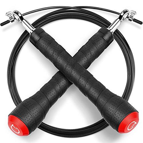 Cuerda para saltar,Gritin 3 metros Cuerda de saltar salto de alta velocidad Ajustable Para CrossFit, artes marciales mixtas, boxeo y fitness-negro