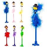6plumes Fluffy Emu fantaisie Chapeau haut-de-forme Bird stylos
