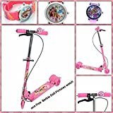 #8: Supermall New 2017 Three wheel Foldable Height Adjustable Scooter with Break & Bell (Pink) - (Free 1 barbie doll pictures watch )