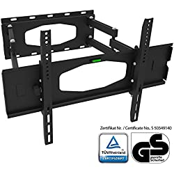 XOMAX ® XM-WH101 Staffa supporto universale con TÜV sigillo per TV / Plasma / LCD / LED / monitor fino a 45 kg + Allungabile, girevole, inclinabile, orientabile + 32-65 pollici + Standard VESA: 600x400, 400x400, 400x200, 200x200, 200x100, 100x100 + Distanza da muro 12-52 cm + Robusta (acciaio/metallo) + Ideale per tutte le marche TV + Materiale di montaggio incluso
