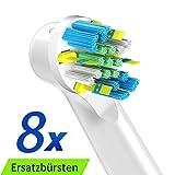 ITECHNIK Tiefenreinigung Aufsteckbürsten kompatibel mit Oral B Elektrischen Zahnbürsten, Ersatz für EB25 Oral-B Floss Action Ersatzbürsten, Zahnbürstenkopf Aufsätze 8 Stück