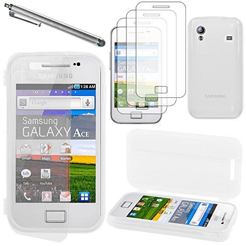ebestStar - Compatibile Cover Samsung Ace Galaxy S5839i, S5830, S5830i Custodia Silicone Portafoglio Protezione + Penna +3 Pellicole plastica, Trasparente [Apparecchio: 112.4 x 59.9 x 11.5mm, 3.5'']
