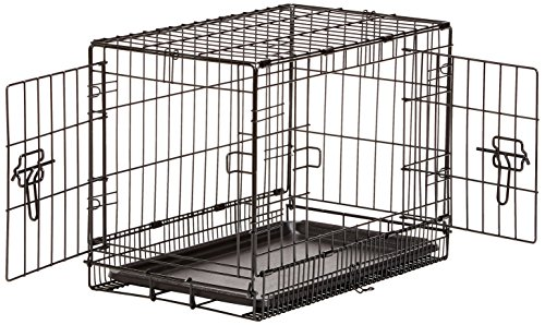 AmazonBasics Double-Door Folding Metal Dog Crate, 22-inches