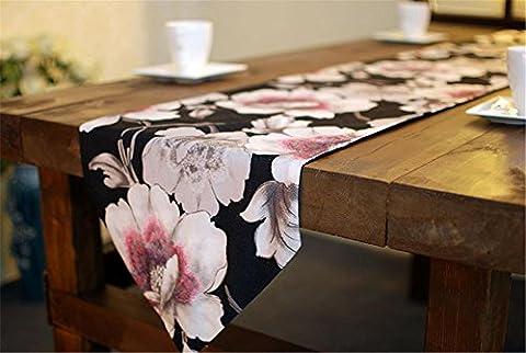 ADDMAT® Tischläufer Hirtenartverzierungen schwarze Blume Tischläufer nach Hause Zubehör Desktop-Hintergründe , A , (Blumen Plastiktischdecke)