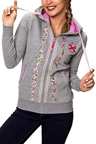Hachiro Damen Sweatjacke Hoodie Sweatshirt Pullover (L, Light Grey Melange) -