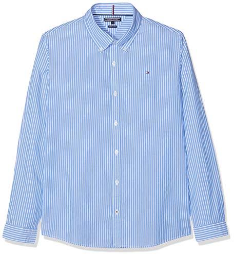 Tommy Hilfiger Jungen Boys Blue Stripe Shirt L/S Hemd, Blau 474, 164 (Herstellergröße: 14)