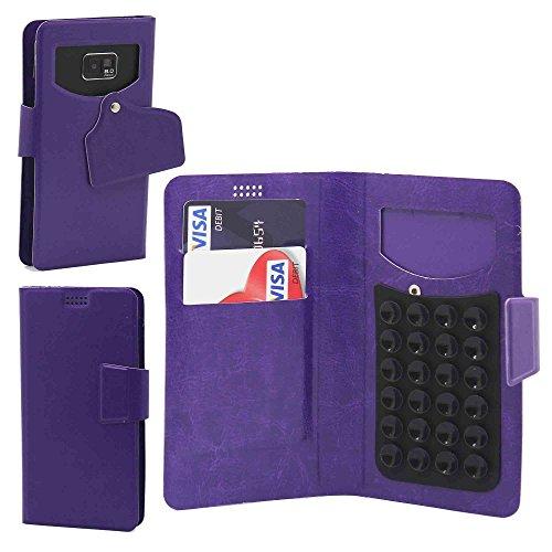 Pour Nokia Lumia 630 Portefeuille et étui de protection à ventouses en cuir PU très fin de très grande qualité avec stylet et Écouteurs intra-auriculaires - Blanc/White - par Gadget Giant® Pourpre/Purple