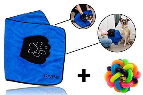 DryPet® Mikrofaser Katzen-/ Hundehandtuch mit Handeinsätzen + GRATIS Spielball - Premium Qualität - hochwertiges Mikrofaserhandtuch - super saugfähig - Speed Dry Funktion (sehr schnell trocknend) - zum praktischen Einsatz für Ihr Haustier