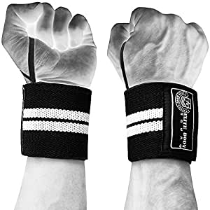 "Wrist Wraps - Elite Body Squad Pro Wrist Supports + FREE Gym Straps, Carry Bag And ""Mass Muscle Building"" Plan - Fully Adjustable Lifting Wraps 18"" Long - Perfect For Bodybuilding, Power Lifting, MMA + Fitness Classes"