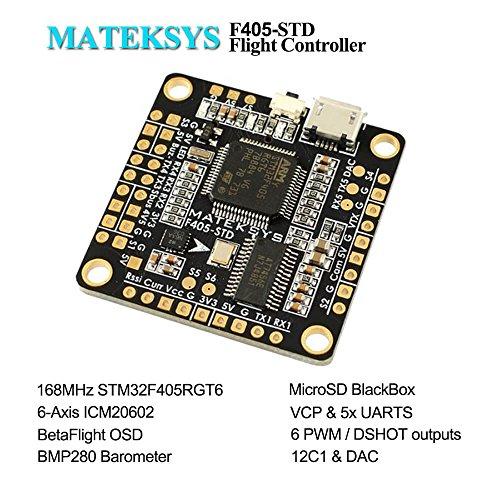 Matek F4 Flight Controller F405-STD (Intergreted Bateflight OSD, BEC 5V,  Micro SD card slot, VCP 5xUARTs, 6 PWM / DSHOT Outputs) for FPV Racing RC