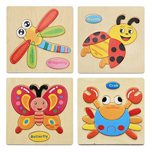 Hillento 3d puzzle di legno puzzle educativo giocattoli puzzle per bambini piccoli-puzzle educativo giocattoli set, educativo e sensoriale di apprendimento per i pi? piccoli, set di 4 (granchio, farfalla, libellula, scarabeo)