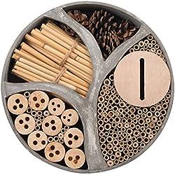 Gardigo 90567 - Hôtel à Insectes Rond en Bois Naturel/Bambou; Refuge pour Hibernation/Nidification; Maison, Abri, Nichoir à Coccinelle Abeilles Papillons Guêpes; 30 x 30 x 6,5 cm