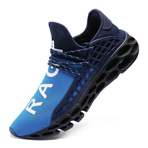 FUSHITON Sportschuhe Herren Laufschuhe Damen Turnschuhe Freizeitschuhe Atmungsaktiv Sneakers Mode Straßenlaufschuhe, Blau, 44 EU Mode Sneakers Schuhe