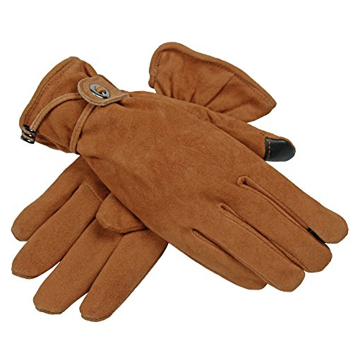 OZERO Handschuhe Damen Sport Winter Warm Samt Gefüttert Touchscreen Handchuhe mit Verstellbarem Gürtel für Mädchen (Braun, L) (Leder-kleid-handschuhe Gefütterte)