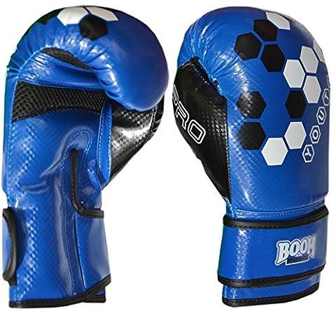 BOOM Prime Kids 4oz 6oz 8oz Junior Maya Leather Boxing Gloves Punch Bag MMA Training Sparring Mitts (Free UK Shipping) (Blue,