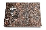 MEMORUM Grabmale Grabtafel, Grabplatte, Grabstein, Grabkissen, Urnengrabstein, Liegegrabstein Modell Pure 40 x 30 x 3-4 cm Paradiso-Granit, Poliert inkl. Gravur (Aluminium-Ornament Kreuz/Rose)