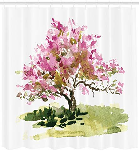 ABAKUHAUS japanisch Duschvorhang, Kirschblüte Sakura, mit 12 Ringe Set Wasserdicht Stielvoll Modern Farbfest und Schimmel Resistent, 175x200 cm, Reseda Grün Grün und Rosa (Badezimmer-set Sakura)
