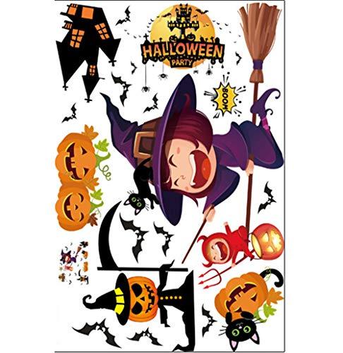 e Wand Aufkleber Kürbis Hexe Fledermaus Dekorative Wand Aufkleber Fenster Bar Cafe Halloween Tapete (Alle 3 Kombinationen),6 ()