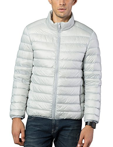 BELLOO Herren Ultraleichte dünne Daunenjacke Wattierte Jacke mit Stehkragen 4 Farben, Gr. XL bis 4XL Grau