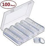 Chriffer 100 PCS Scatola per Monete Capsule di Monete Custodie per Monete Protegge della Guarnizione con Scatola Moneta Porta Capsule Rotonda Contenitore per Monete da Collezione 20/25/27/30 mm