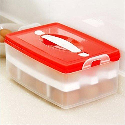 Dealglad® Nouvelle Portable Plastique double couche réfrigérateur Nourriture Oeuf Plus Boîte de rangement Case Container support Distributeur de panier, Plastique, Red, Approx. 24 x 16 x 10.5cm ( L x W x H )