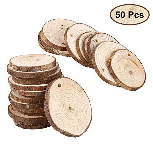 Discos Madera 50 Piezas 3-5 cm Rebanadas Madera Sin