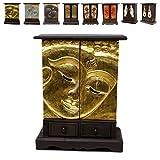Wandschrank Kommode Flurschrank Schubladenschrank Holzschrank Schrank Buddha Gesicht ca. 70 cm hoch Akazienholz Holz Dunkelbraun Gold