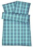 Kühle Mako Perkal Sommer Bettwäsche 135 x 200 cm Grün Anthrazit aus 100 % Baumwolle für besten Schlafkomfort bei warmen Temperaturen – 2-teiliges kariertes Bettwäsche Set mit Kopfkissen-Bezug 80 x 80 cm