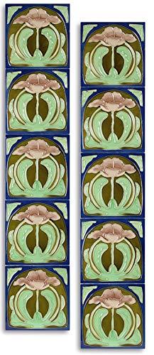 10 Stück Keramik Fliesen Jugendstil 15,2 x 15,2 cm