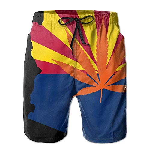 Fashion Men's Beach Pants Weed Arizona Flag Map Men's/Boys Casual Shorts Swim Trunks Swimwear Elastic Waist Beach Pants with Pockets,XL Arizona Boys Jean