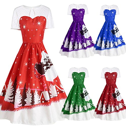 Novelty christmas dress plus size Hirolan christmas decorations sale clearance christmas pattern slim fit retro o-neck short sleeve pleated lace dress vintage cocktail party swing dress for girls