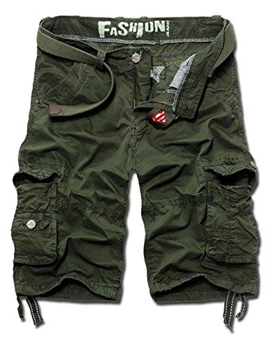 Menscwhear Pocket Hobo Release Pantaloni da Jogging da Uomo sportivi Casual Sarouel danza Shorts in esecuzione with belts (48,verde)