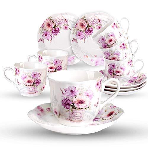 7oz Kaffeetassen mit Untertassen Porzellan Set-220ml Neue Bone China mit Retro Modern Blumen Muster Pink Rosen für 6 Personen Cappuccino Set