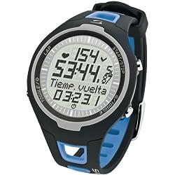 Sigma PC 15.11 - Pulsómetro analógico unisex (contador de caloriás, contador de 50 vueltas, frecuencia cardiáca), Azul/Negro, Talla única