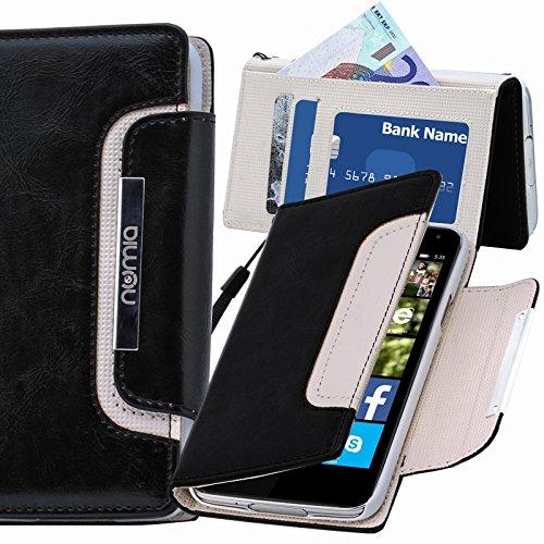 numia Nokia Lumia 530 Hülle, Handyhülle Handy Schutzhülle [Book-Style Handytasche mit Standfunktion und Kartenfach] Pu Leder Tasche für Nokia Lumia 530 Case Cover [Schwarz-Weiss]