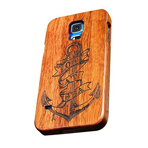 Dual Kirschholz (Forepin® Natur Holz Hülle Handyhülle Echtem Schutz Schale Hart Cover Case Etui für Samsung Galaxy S7 Edge, Wood Handy Schalen - Anker)