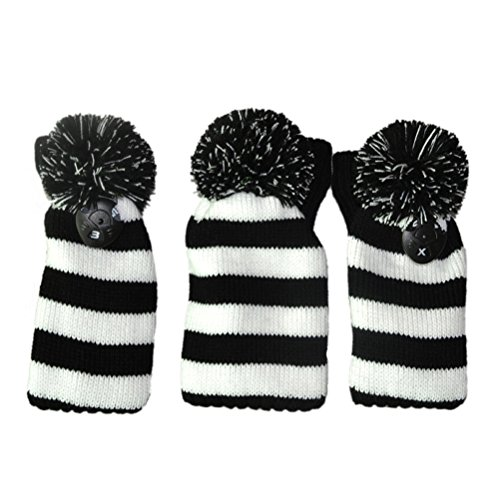 VORCOOL 3 stücke Golf Club Gestrickte Headcover Kopfbezüge Rote und Weiße Streifen Golf Head Cover Socke (Schwarz und Weiß) -