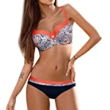 Damen Bikini Set Sonnena Frauen Bademode Beachwear Split Badeanzug Swimwear Push-up Gepolsterte BH +Bikinihose Zweiteilig Verband Schwimmen Patchwork Bandage Badeanzug (2XL, Orange @)