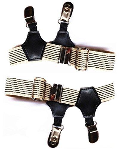 mnyr 211Farben BEIGE Sexy Double Clip Dicke dünn Fashion Frauen Herren Socke Strumpfband Straps Kostüm Cosplay Zubehör, Beige black (Black In Kostüm Men Diy)