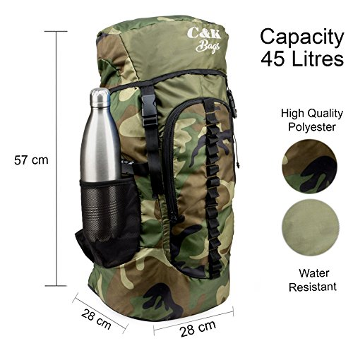 Chris & Kate Large Army Green Camouflage Bag || Travel Backpack || Outdoor Sport Camp Hiking Trekking Bag || Camping Rucksack Daypack Bag (45 litres)(CKB_186LL) Image 7
