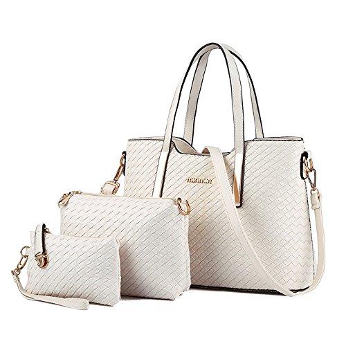Damen Handtasche, Mode PU Lackleder Tasche mit Alligator Muster, 3-teiliges Set mit Crossbody Tasche und Geldbeutel/ Leder Handtasche + Schultertasche + Geldbeutel 3pcs Beutel Weiß (Weiß-handtasche Tasche)
