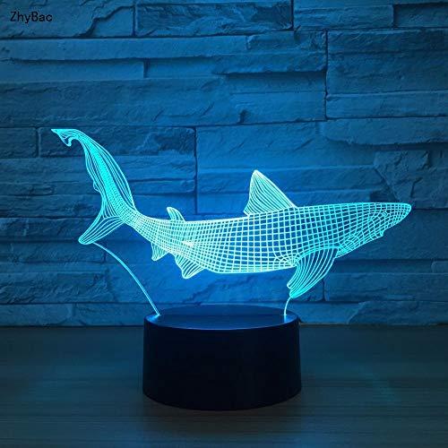 Zhybac1New Shark 3D Led Angeln Werkzeuge Innerhalb Fisch Tischlampe Wohnkultur Party 7 Farben Ändern Nachtlicht Nacht Schlaf Decor Licht