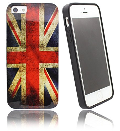 nwnk13 Schutzhülle für iPhone 4/5/6 Slim Design Vintage Collection UK Flagge/Union Jack Weiche Rückseite Gummi Gel Schutzhülle Mit matt Finish Bumper mit Displayschutzfolie (Banks Pocket Outer)
