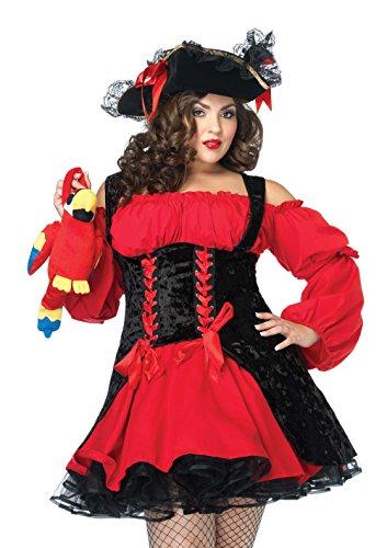 LEG AVENUE 83157 - Samt Piraten Kostüm Mit Schnüren Damen Karneval, Größe: 3XL/4XL (EUR 52-56)