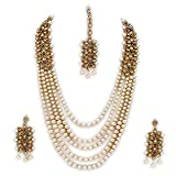 Catalyst Traditional Kundan Necklace Set White Pearl Multi Layer Designer Gold Plated Necklace,Maang